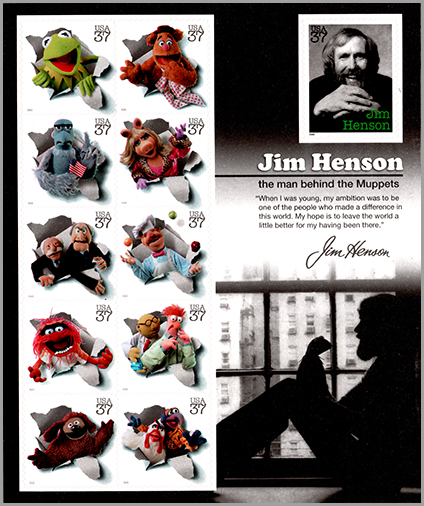 USA: Jim Hensn, The man behaind the Muppets | Puppet Stamp
