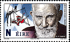 Ireland: Stoing puppet behind the portrait Bernard Shaw