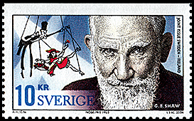 Sweden: Stoing puppet behind the portrait Bernard Shaw